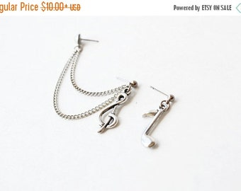 SALE Silver Music Notes Double Pierce Cartilage Earrings (Pair)