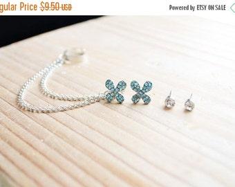 SALE Blue Flower Chain Ear Cuff Earrings Set
