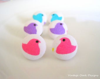 PEEPS Easter Button Earrings, Easter Studs, Easter Jewelry, Easter Basket Gifts, Fabric Button Earrings, Easter Earrings,Fabric Jewelry