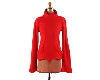 Vintage 1970's Ruby Red Soft Acrylic Knit Baggy Turtle Cowl Neck Bell Sleeve Retro Sweater M L
