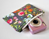 Gadget padded camera iphone pouch floral meadow blooms print in orange,pink and slate grey.
