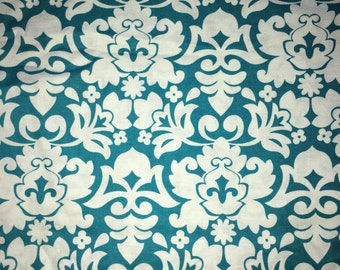 Turquoise Damask fabric by the Yard