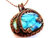"""Blue Labradorite & Hand Woven Oxidized Copper Wire Pendant - 1.75"""" x .2"""""""