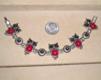 Vintage Rhinestone And Enamel 5 Owl Link Bracelet 1980's Jewelry 9
