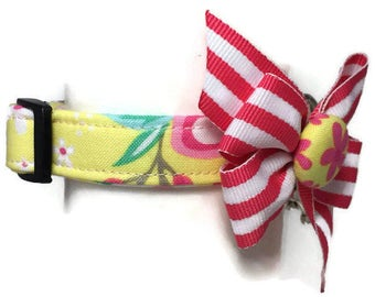 Yellow Spring Floral Dog Collar Size Extra Small