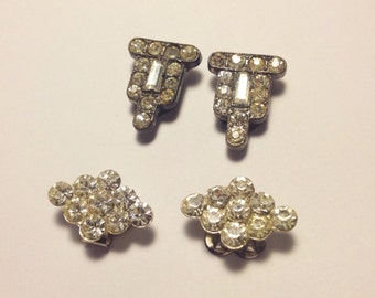 2 Pair Vintage Rhinestone Dress or Shoe Clips Small Shiny Eye Catching Accents