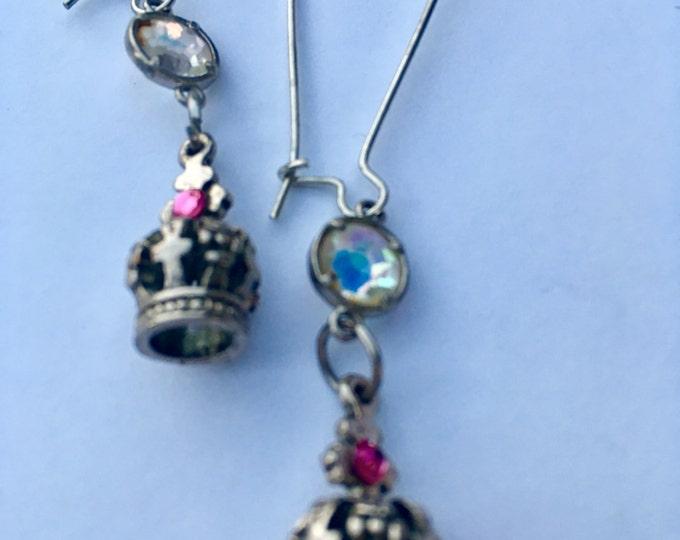 Jewelry, Earrings, Crystal Earrings, Swarovski Earrings, Pink and Clear Crystal Earrings, Crown Earrings, Old Hollywood Glam