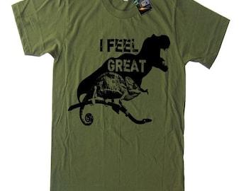 MEDIUM - ON SALE I Feel Great T Shirt Funny Dinosaur TShirt - Dinosaur Tee Men Shirt Motivational Tee T-rex T Shirt Men's Shirt - Medium