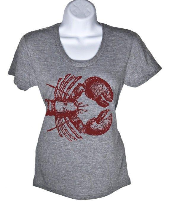Nautical Lobster T Shirt - Womens Graphic Tees Mens Tshirt Nautical Shirt - Ocean Print Summer Shirts Beach Wedding Present