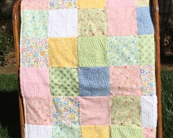 Chenille, Floral Flannel Baby Girl Quilt
