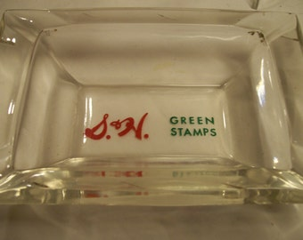 S and H Green Stamps Ashtray Vintage 1960s Advertising Ashtray Clear Glass with Green Stamps Logo  Tobacciana