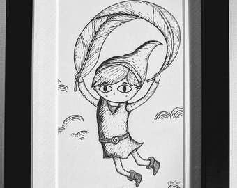 Deku Leaf Link- Original ink drawing in black frame- Zelda Wind Waker inspired art sketch