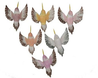 12 Pretty Pastel Hummingbirds (Mary) Feather Hummingbirds, Craft Hummingbirds, Wedding Birds