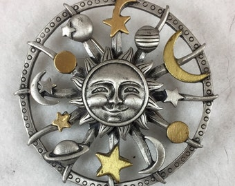 Vintage Signed Solar Mystic Astronomy Brooch