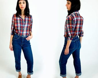 SPRING SALE Vintage 1970s Levi's Paper Thin Red White and Blue Plaid Western Wear Style Button Down Boyfriend Shirt Size S Small
