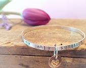 You Are My Sunshine Silver Quote Bracelet Heart Charm Bracelet, Inspirational Quote Affirmation Mantra Bracelet, Heart Jewlery Gift Bracelet