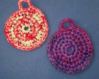 Two Plarn Dish Scrubbies, purple and fluorescent red, recycled plastic bags, upcycled dish scrubby pot scrubber