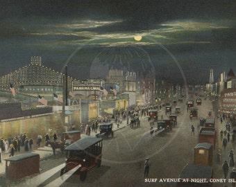 Surf Avenue at Night Coney Island NY - 10x16 Giclée Canvas Print of Vintage Postcard