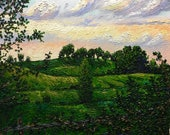 "Original Impressionist style Impasto oil painting ""Sunset Pasture"" 16x20"