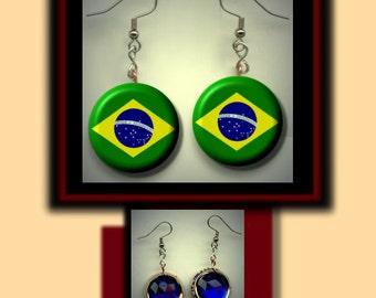 BRAZIL BRAZILIAN World Flag Altered Art Dangle Earrings with Rhinestone