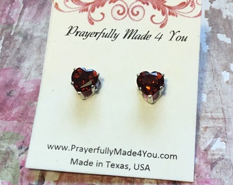 Heart Garnet Post Earrings,  Sterling Silver, Garnet Jewelry, For Her, January Birthstone, Valentines's Day, Red Jewelry, Simplistic Jewelry