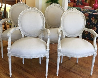 Pair of Carved French Chairs in Herringbone Linen (two sets available) - Totally Refurbished