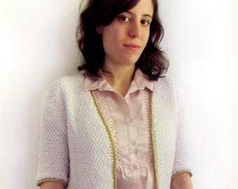 White jacket with gold sparkly trim - handknit jacket - Size S