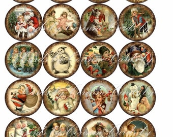 """Christmas 20  vintage inspired pictures round 2"""" stickers glossy cut ready to use"""