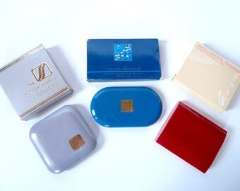 Three Vintage Avon Compact Makeup Blush Cases with Original Boxes