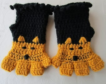 Fingerless gloves Woman Mittens, Black Winter Gloves Cat Mittens, Orange Gloves Animal Arm Warmers Woolen Mittens Teenage Girl gift for her.