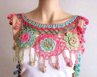 Crochet Scarf, Flower Scarf, Flower Necklace, Crochet necklace, Colorful Scarves, Women Accessories, Flower Crochet Scarf, Colorful Scarf