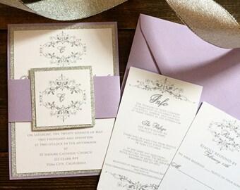 Glitter Wedding Invitations - Lavender Wedding Invitations - Wedding Invitation Suite - Free RSVP Envelope Printing