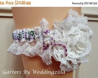 SALE Lace Flower Wedding Garter, Lavender  White Lace Bridal Garter,  Floral Garter,  Victorian Garter, Wedding Garter Belt, Boho  Garter