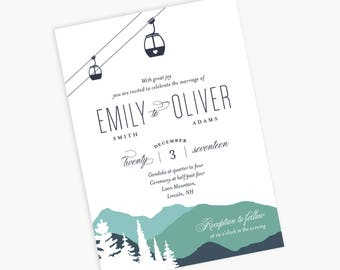 Gondola Invitation, Mountains Wedding Invitation, Gondola Wedding, Mountains and Gondola, Mountain Gondola Wedding Invitation, Ski Gondola