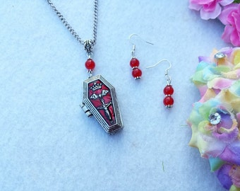 Punk, Vintage, Retro Coffin necklace and Earrings set