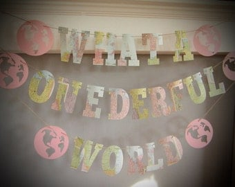 First Birthday Party Banner, What a Onederful World, Travel Theme, Map Theme,Banner, Photo Prop, Map Birthday Party, Pink Maps, Custom, Maps