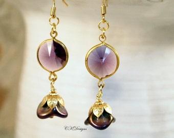 Purple Rivoli Drop Earrings , Vintage Lucite Drop  Pierced or Clip-on Earrings. Czech Bell Drop Earrings, OOAK Handmade Earrings.