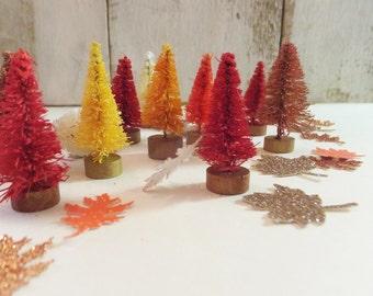 "Fall Tiny Trees ~ 12 count Bottle Brush ~ 1.5"" ~ Autumn Colors ~ Fairy Garden ~ Doll / Putz House ~ Table Decor ~ Gift"