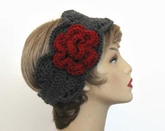 Crochet Gray Headband with Flower Head Band Charcoal Earwarmer gray knit Earwarmer with Maroon Flower Dark Grey Headband Crochet ear warmer