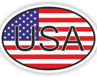 USA Country Code Oval Sticker with United States Flag for Bumper Laptop Book Fridge Helmet ToolBox Door PC Hard Hat Tool Box Locker Truck