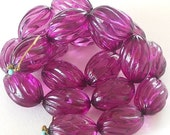VALENTINE SALE 20x15mm Amethyst Acrylic Beads, Fluted Oval Plastic Beads Purple Beads, Large Clear Amethyst (PJTAB-72014) - 20 Pieces