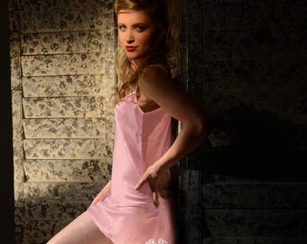 Lydia Silky Chemise with Lace Accents