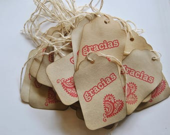 spanish thank you. gracias. coffee stained tags. hangtags. distressed shabby chic . primitive. gift embellishment . eco friendly