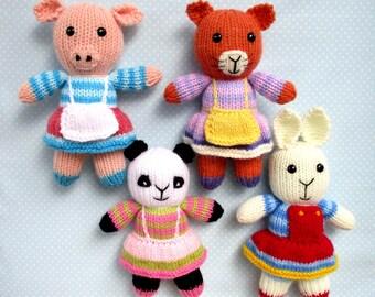 Rabbit, cat, pig, panda - 4 toy animal doll knitting patterns - PDF INSTANT DOWNLOAD