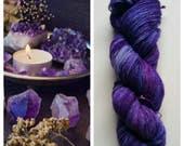 Amethyst: hand dyed variegated Merino sock yarn by Star Fiber Studio