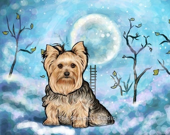 Yorkie Print(8x10, 12x16, 16x20 and 24x36 inch Paper or Canvas prints) Art Luster Dogs Pets Evening Night sky Stars Moon Trees Folk Dream
