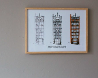 Glasgow Architecture A4 print - Icons galore