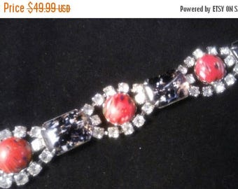 Now On Sale Vintage Rhinestone Bracelet, Black & Red Chunky Rare Jewelry, Old Hollywood Glam, Mad Men Mod, Rockabilly Accessories