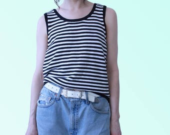 80s Vtg Black and White Striped Cotton Tank Shirt Summer Slouchy Vintage Classic
