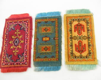 Antique Cigar Tobacco Silks Felt Flannel Dollhouse Rug Set of 4 Tobacciana Americana Advertising 1910's Collectible Miniature